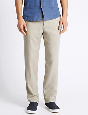 Regular Fit Linen Rich Trousers, LIGHT STONE, catlanding