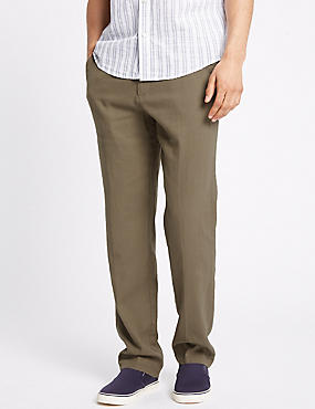 Regular Fit Linen Rich Trousers, COFFEE, catlanding