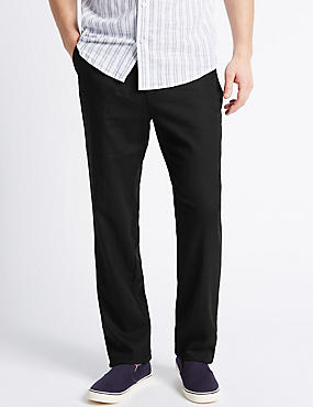 Regular Fit Linen Rich Trousers, BLACK, catlanding