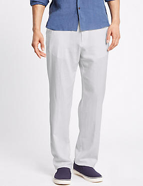 Regular Fit Linen Rich Trousers, WHITE, catlanding