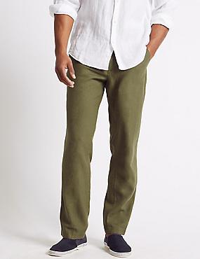 Regular Fit Linen Rich Chinos, SAGE, catlanding