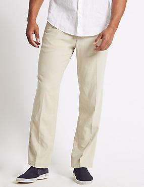 Regular Fit Linen Rich Chinos, LIGHT STONE, catlanding