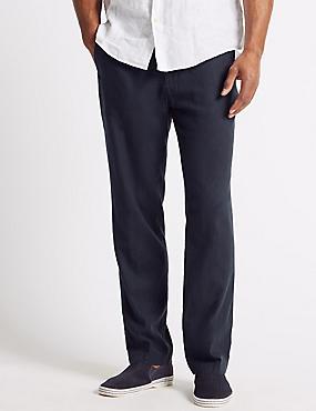 Regular Fit Linen Rich Chinos, NAVY, catlanding