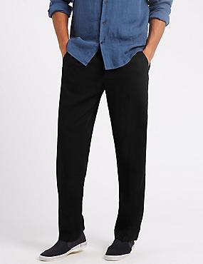 Regular Fit Linen Rich Chinos, BLACK, catlanding