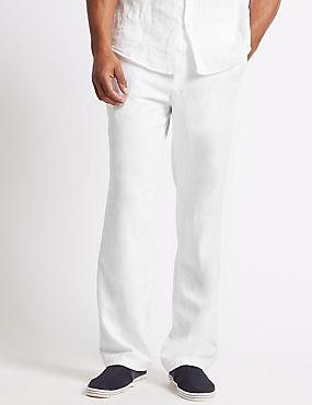 Regular Fit Linen Rich Chinos, WHITE, catlanding