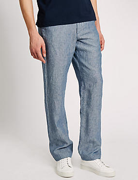 Big & Tall Tailored Fit Pure Linen Chinos, BLUE, catlanding