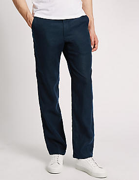 Pure Linen Easy to Iron Chinos, NAVY, catlanding