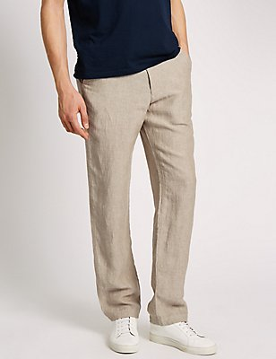 Tailored Fit Pure Linen Chinos, ECRU, catlanding