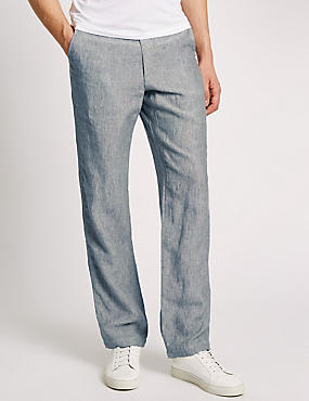 Big & Tall Tailored Fit Pure Linen Chinos, GREY, catlanding