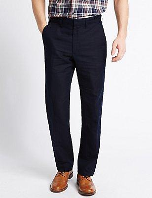Tailored Fit Premium Linen Blend Trousers, NAVY, catlanding