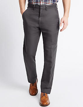 Tailored Fit Linen Rich Trousers, GREY, catlanding