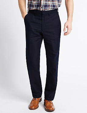 Big & Tall Tailored Linen Blend Trousers, NAVY, catlanding
