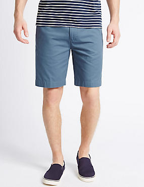 Pure Cotton Chino Shorts, BLUE, catlanding
