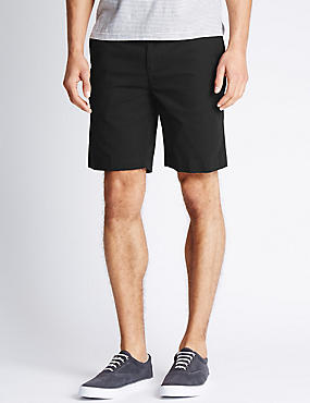 Pure Cotton Chino Shorts, BLACK, catlanding