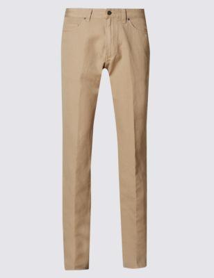 Прямые брюки окраски Garment с добавлением льна