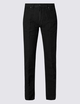 Прямые брюки окраски Garment с добавлением льна M&S Collection T175910M