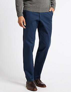 Cotton Rich Stretch Chinos, AIR FORCE BLUE, catlanding