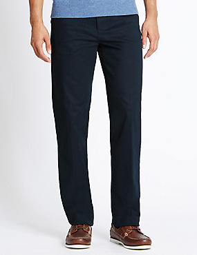 Big & Tall Straight Cotton Rich Trousers, NAVY, catlanding