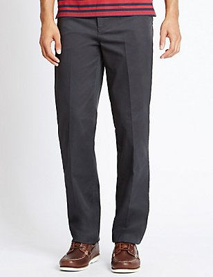 Big & Tall Straight Cotton Rich Trousers, GREY, catlanding