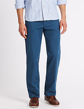 Regular Fit Chinos with Stretch, BLUE, catlanding