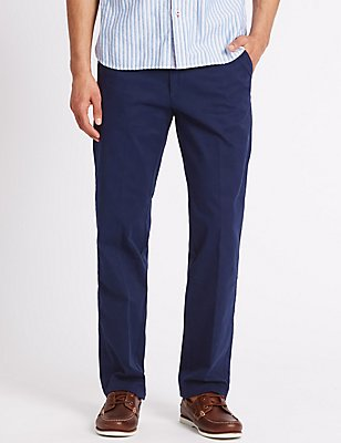 Regular Pure Cotton Trousers with Stretch, NAVY, catlanding