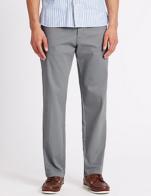 Regular Fit Chinos with Stretch, GREY, catlanding