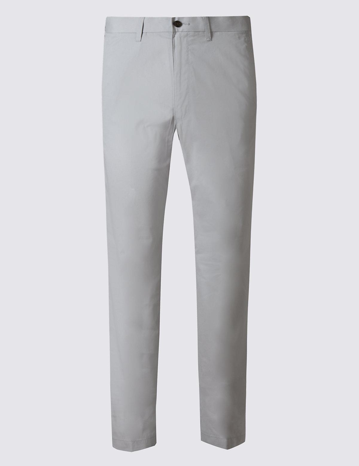 Классические брюки чинос Super Lightweight M&S Collection. Цвет: светлый серый
