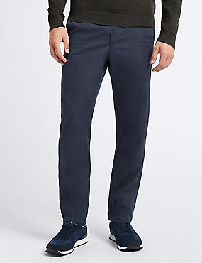 Cotton Rich Slim Fit Chinos, NAVY, catlanding