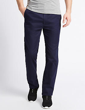 Straight Fit Cotton Rich Trousers, NAVY, catlanding