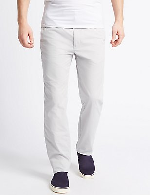 Straight Fit Cotton Rich Trousers, LIGHT GREY, catlanding
