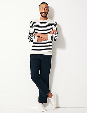 Pure Cotton Flat Front Chinos, NAVY MIX, catlanding
