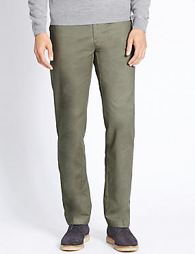 Regular Fit Pure Cotton Chinos, WASHED GREEN, catlanding