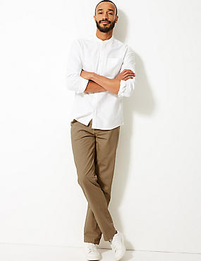 Pure Cotton Flat Front Chinos, PUTTY, catlanding