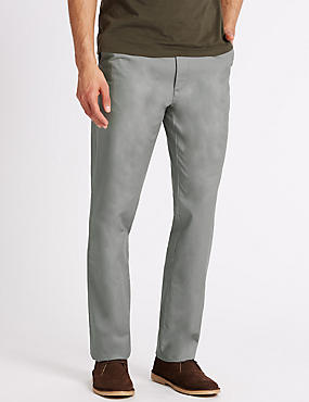 Regular Fit Pure Cotton Chinos, LIGHT GREY, catlanding
