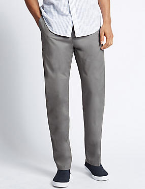 Pure Cotton Flat Front Chinos, MEDIUM GREY, catlanding