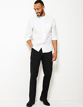 Pure Cotton Flat Front Chinos, BLACK, catlanding