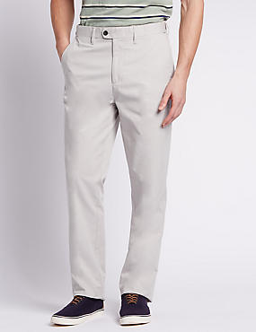 Pure Cotton Flat Front Chinos, WHITE MIX, catlanding