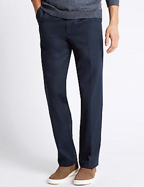 Pure Cotton Pleated Chinos, NAVY, catlanding