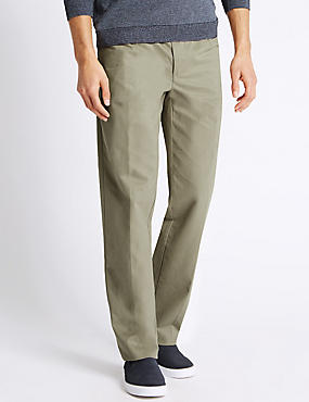 Pure Cotton Pleated Chinos, PUTTY, catlanding