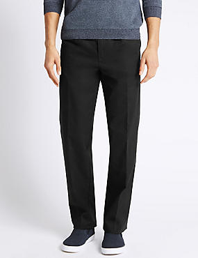 Pure Cotton Pleated Chinos, BLACK, catlanding