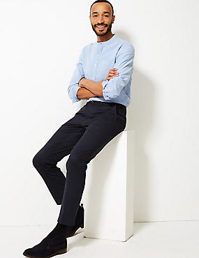 Pure Cotton Slim Fit Flat Front Chinos, NAVY MIX, catlanding