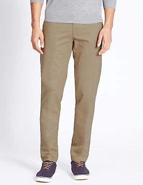 Pure Cotton Slim Fit Flat Front Chinos, PUTTY, catlanding