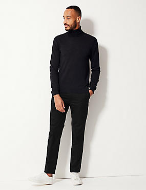 Pure Cotton Slim Fit Flat Front Chinos, BLACK, catlanding