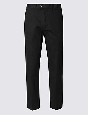 Shorter Length Pure Cotton Flat Front Chinos