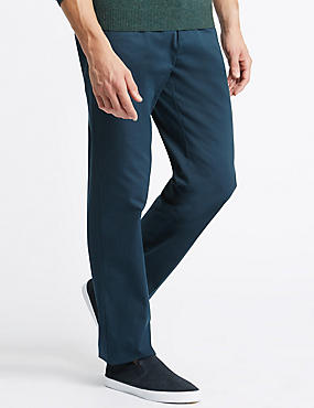 Pure Cotton Flat Front Chinos with Stormwear™, DARK TEAL, catlanding
