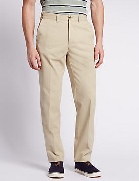 Regular Fit Cotton Chinos with Active Waist, , catlanding