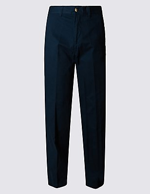 Pure Cotton Chinos with Active Waist, NAVY, catlanding