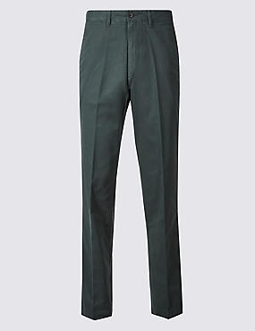 Pure Cotton Chinos with Active Waist, DARK TEAL, catlanding