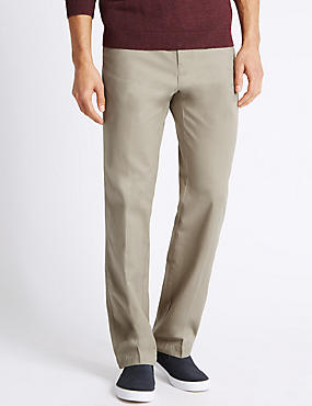 Regular Fit Cotton Chinos with Active Waist, NATURAL MIX, catlanding