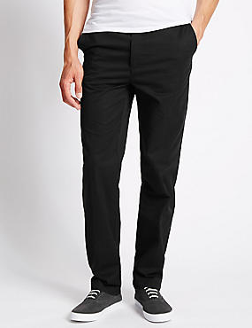 Regular Fit Cotton Chinos with Active Waist, BLACK, catlanding